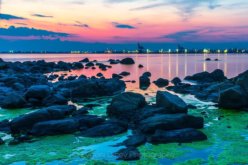 Calm summer dusk by the sea