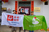 At the Crested ibis guesthouse in Yangxian, guesthouse owner Hau Ying on the right and wildlife guide Kevin Zhong to the left. Staffan Widstrand, center. Yangxian Nature Reserve, Shaanxi, China