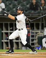 CHICAGO - APRIL 13:  Adam Eaton #12 of the Chicago White Sox bats against the Cleveland Indians on April 13, 2021 at Guaranteed Rate Field in Chicago, Illinois.  (Photo by Ron Vesely) Subject:  Adam Eaton