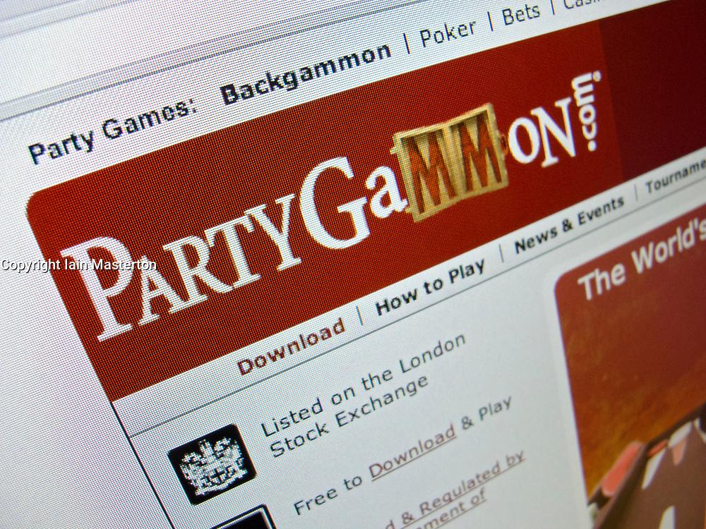 Detail of online backgammon website PartyGammon homepage screen shot