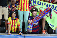 Barcelona fans celebrate during the Champions League Final between Juventus FC and FC Barcelona at the Olympiastadion, Berlin, Germany on 6 June 2015. Photo by Phil Duncan.
