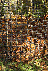 Leaf mould bin made from wire mesh