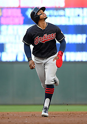May 31, 2018 - Minneapolis, MN, U.S. - MINNEAPOLIS, MN - MAY 31: Cleveland Indians Shortstop Francisco Lindor (12) runs to 3rd during a MLB game between the Minnesota Twins and Cleveland Indians on May 31, 2018 at Target Field in Minneapolis, MN. The Indians defeated the Twins 9-8.(Photo by Nick Wosika/Icon Sportswire) (Credit Image: © Nick Wosika/Icon SMI via ZUMA Press)