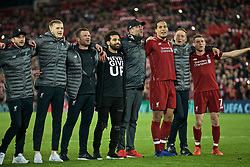 BRITAIN-LIVERPOOL-FOOTBALL-UEFA CHAMPIONS LEAGUE-LIVERPOOL VS FC BARCELONA..(190507) -- LIVERPOOL, May 7, 2019  Liverpool's players and manager celebrate after the UEFA Champions League Semi-Final second Leg match between Liverpool FC and FC Barcelona at Anfield in Liverpool, Britain on May 7, 2019. Liverpool won 4-3 on aggregate and reached the final. FOR EDITORIAL USE ONLY. NOT FOR SALE FOR MARKETING OR ADVERTISING CAMPAIGNS. NO USE WITH UNAUTHORIZED AUDIO, VIDEO, DATA, FIXTURE LISTS, CLUBLEAGUE LOGOS OR ''LIVE'' SERVICES. ONLINE IN-MATCH USE LIMITED TO 45 IMAGES, NO VIDEO EMULATION. NO USE IN BETTING, GAMES OR SINGLE CLUBLEAGUEPLAYER PUBLICATIONS. (Credit Image: © Xinhua via ZUMA Wire)