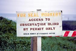Fur Seal Rookery Sign