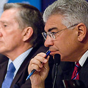 """Commissioners Richard Ben-Veniste (right) and John Lehman (left). Panel: Al Qaeda. The 9/11 Commission's 12th public hearing on """"The 9/11 Plot"""" and """"National Crisis Management"""" was held June 16-17, 2004, in Washington, DC."""