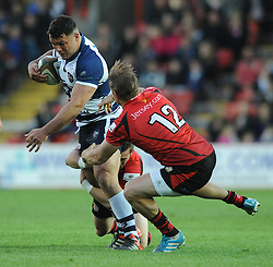 Bristol Rugby's Ellis Genge shrugs off a challenge from Jersey Rugby's Lewis Robling - Photo mandatory by-line: Dougie Allward/JMP - Mobile: 07966 386802 - 17/04/2015 - SPORT - Rugby - Bristol - Ashton Gate - Bristol Rugby v Jersey - Greene King IPA Championship