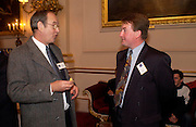David Morgan, world's largest collection of traffic cones and Kevin Charles Godden, world's largest collection of decorative pins. 50th Anniversary Party of the Guinness Book of World Records, November 16, 2004 - The Royal Opera House London, Great Britain<br />ONE TIME USE ONLY - DO NOT ARCHIVE  © Copyright Photograph by Dafydd Jones 66 Stockwell Park Rd. London SW9 0DA Tel 020 7733 0108 www.dafjones.com