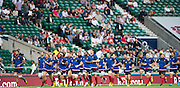 Twickenham, England.  French squard, running the perrimiter of the pitch, QBE International. England vs France [World cup warm up match]  Saturday.  15.08.2015,  [Mandatory Credit. Peter SPURRIER/Intersport Images].