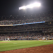 Pitcher Clayton Kershaw, Los Angeles Dodgers, pitching  to Yoenis Cespedes, New York Mets, during the New York Mets Vs Los Angeles Dodgers, game four of the NL Division Series at Citi Field, Queens, New York. USA. 13th October 2015. Photo Tim Clayton