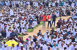September 2, 2017 - Dimapur, Nagaland, India - Indian Muslims youth take picture from their mobile phone as they gather to offer prayers during the Eid-al-Adha festival in Dimapur, India north eastern state of Nagaland on Saturday, 02 September 2017. Muslims across the world celebrate the annual festival of Eid al-Adha, or the Festival of Sacrifice, which marks the end of the Hajj pilgrimage to Mecca and commemorates Prophet Abraham's readiness to sacrifice his son to show obedience to God. (Credit Image: © Caisii Mao/NurPhoto via ZUMA Press)