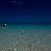 Fiji Ocean and Horizon after Nightfall, with Fishing Boat, Dark Sky, Aqua Water