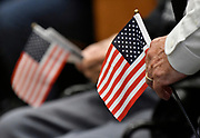 Small American flags were handed out as people entered city hall. The city of Belleville held their 21st annual Veterans Day ceremony inside Belleville City Hall on Thursday November 11, 2019. It was moved inside due to the winter weather.<br /> Photo by Tim Vizer