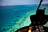 Aerial views of the spectacular Great Barrier Reef near the Whitsunday Islands in Queensland, Australia.