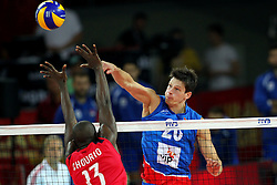 06.09.2014, Jahrhunderthalle, Breslau, POL, Venezuela vs Serbien, Gruppe A, im Bild (L) JESUS CHOURIO PIRELA, (P) SRECKO LISINAC // during the FIVB Volleyball Men's World Championships Pool A Match beween Uenezuela and Serbia at the Jahrhunderthalle in Breslau, Poland on 2014/09/06. <br />
