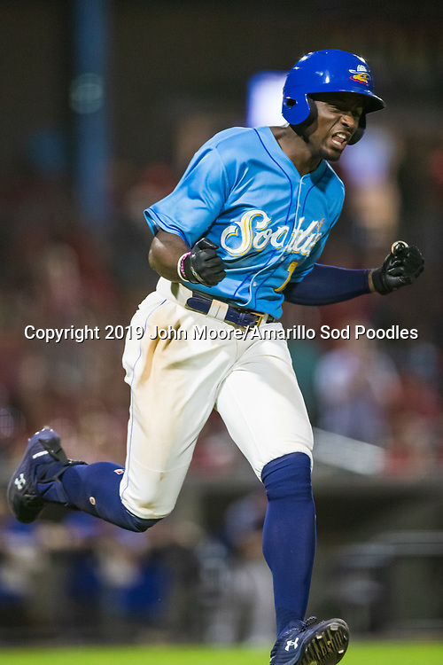 Amarillo Sod Poodles outfielder Taylor Trammell (7) reacts after hitting an RBI single against the Tulsa Drillers during the Texas League Championship on Tuesday, September 10, 2019, at HODGETOWN in Amarillo, Texas. [Photo by John Moore/Amarillo Sod Poodles]