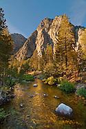 Granite peaks over the South Fork of the Kings River near Cedar Grove, Kings Canyon National Park, California