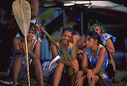 Canoe Paddlers, Tahitian fete, Papeete, Tahiti, French Polynesia (editorial use only, no model release)<br />