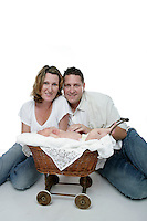 21 July 2008:  Troy Hall (37), Judi Hall (34) and two week old newborn baby boy Lincoln Anthony Hall in the studio for a family portrait session. This is the couples first child.