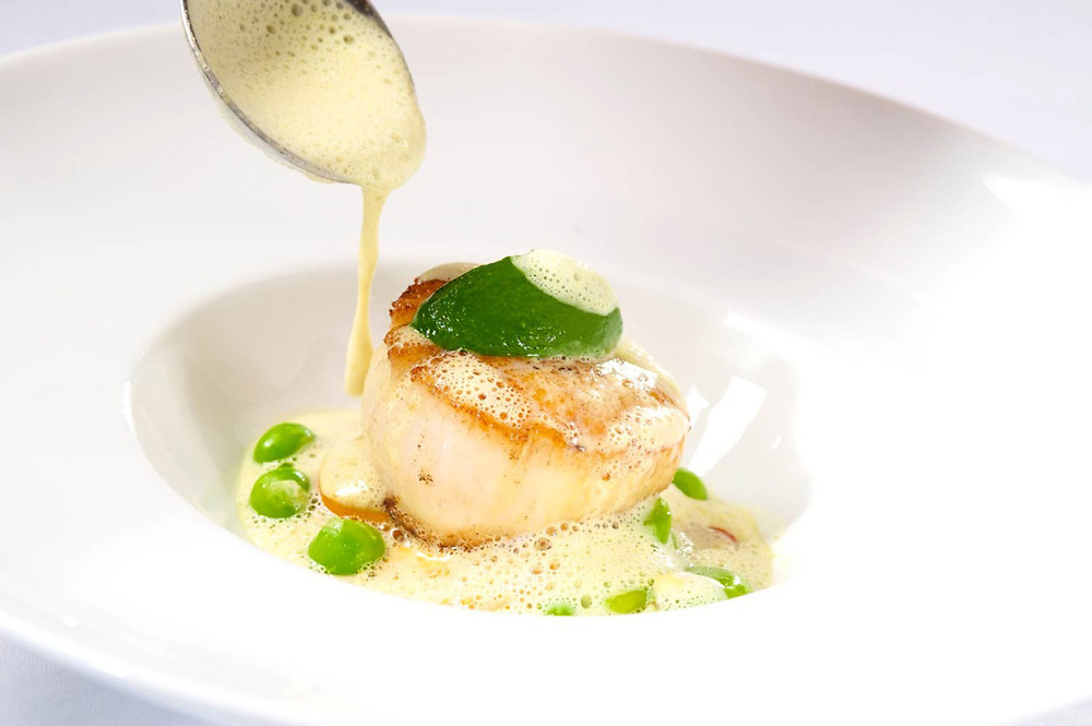Seared Day Boat Scallop with<br /> Green Lentil Daube, Apple Smoked Bacon & Celery Purée