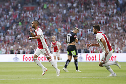 (L-R) Hakim Ziyech of Ajax, Peter Zulj of Sturm Graz, Klaas Jan Huntelaar of Ajax during the UEFA Champions League second round qualifying first leg match between Ajax Amsterdam and Sturm Graz at the Johan Cruijff Arena on July 25, 2018 in Amsterdam, The Netherlands
