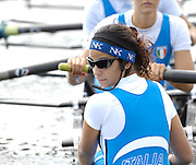 Marathon, GREECE,  Italian Women's eight cox, Serena MANETTI, checks the position, as her crew back the eight on to the start pontoon, at the FISA European Rowing Championships.  Lake Schinias Rowing Course, FRI 19.09.2008  [Mandatory Credit Peter Spurrier/ Intersport Images] , Rowing Course; Lake Schinias Olympic Rowing Course. GREECE