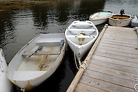 Row boats at dock, Surry Maine, USA