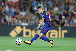 August 7, 2017 - Barcelona, Spain - Denis Suarez of FC Barcelona kicks the ball to score a goal during the 2017 Joan Gamper Trophy football match between FC Barcelona and Chapecoense on August 7, 2017 at Camp Nou stadium in Barcelona, Spain. (Credit Image: © Manuel Blondeau via ZUMA Wire)