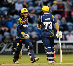 Glamorgan's Kieran Carlson with team-mate David Lloyd<br /> <br /> Photographer Simon King/Replay Images<br /> <br /> Vitality Blast T20 - Round 14 - Glamorgan v Surrey - Friday 17th August 2018 - Sophia Gardens - Cardiff<br /> <br /> World Copyright © Replay Images . All rights reserved. info@replayimages.co.uk - http://replayimages.co.uk