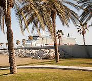 Playa de Malaguera sandy beach with palm trees and cruise ship,  Malaga, Spain
