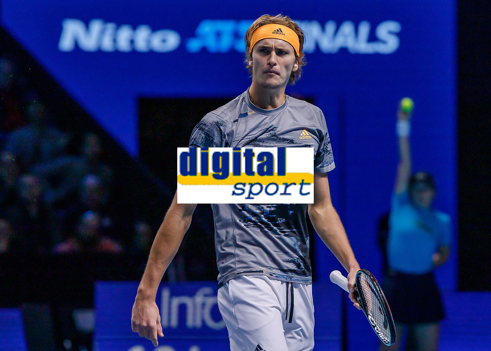 Tennis - 2019 Nitto ATP Finals at The O2 - Day Seven<br /> <br /> Semi Finals: Dominic Thiem (Austria) Vs. Alexander Zverev (Germany)<br /> <br /> A defiant looking Alexander Zverev (Germany) looks across to his bench for some inspiration<br /> <br /> COLORSPORT/DANIEL BEARHAM<br /> <br /> COLORSPORT/DANIEL BEARHAM