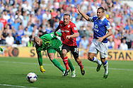 Cardiff city's Craig Bellamy attempts to go past Everton keeper Tim Howard.  Barclays Premier league, Cardiff city v Everton at the Cardiff city Stadium in Cardiff,  South Wales on Saturday 31st August 2013. pic by Andrew Orchard,  Andrew Orchard sports photography,