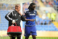 Kenwyne Jones of Cardiff city leaves the field of play injured in the 2nd half. Skybet football league championship match, Cardiff city v Wolverhampton Wanderers at the Cardiff city stadium in Cardiff, South Wales on Saturday 22nd August 2015.<br /> pic by Carl Robertson, Andrew Orchard sports photography.