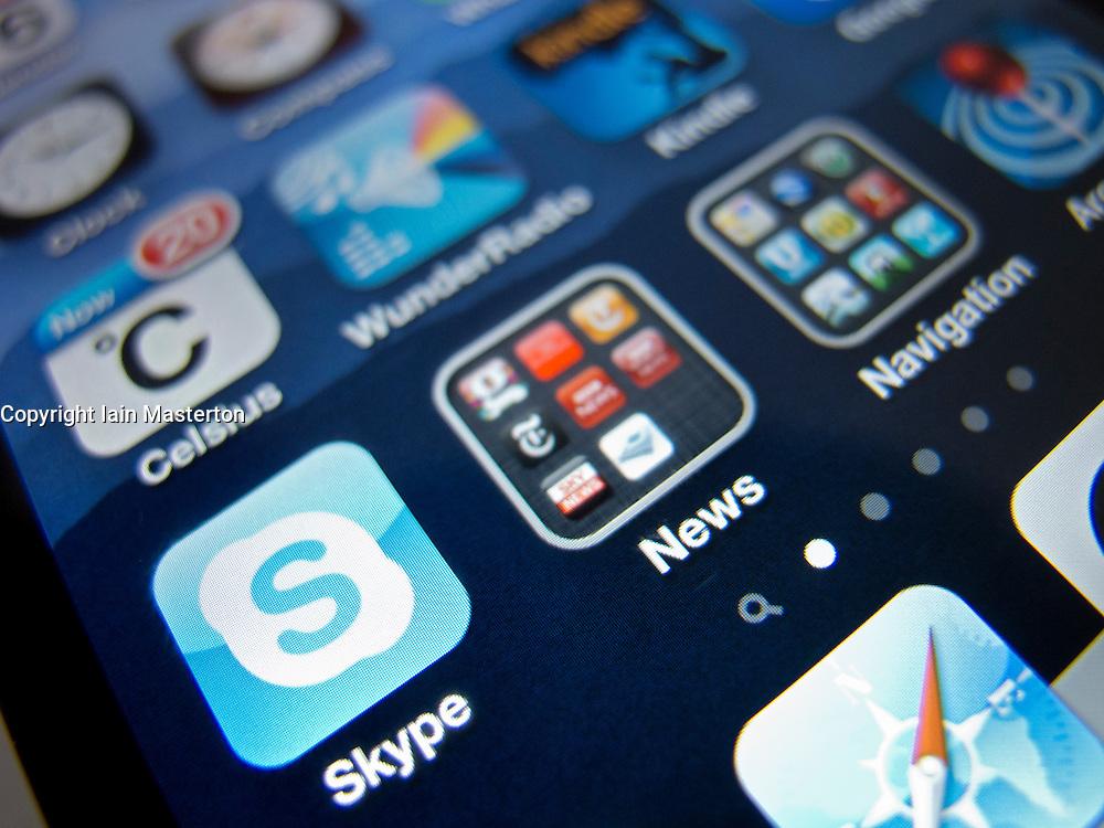 close-up of Skype app on an Apple iPhone 4G smart phone