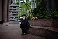 "Rhoda Janzen, the author of ""Mennonite in a Little Black Dress"" in New York..(Photo by Robert Caplin).."