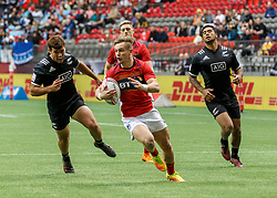 March 10, 2018 - Vancouver, British Columbia, U.S. - VANCOUVER, BC - MARCH 10: Darcy Graham (#2) of Scotland goes in to score during Game # 1- New Zealand vs Scotland Pool D match at the Canada Sevens held March 10-11, 2018 in BC Place Stadium in Vancouver, BC. (Photo by Allan Hamilton/Icon Sportswire) (Credit Image: © Allan Hamilton/Icon SMI via ZUMA Press)
