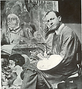 George Grosz (1893 ? 1959) German artist in his studio. A prominent member of the Berlin Dada and New Objectivity group, known especially for his savage caricatur of Berlin life in the 1920s.