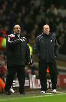 Photo: Paul Greenwood/Sportsbeat Images.<br />Liverpool v Bolton Wanderers. The FA Barclays Premiership. 02/12/2007.<br />Liverpool boss Rafael Benitez, (L) and Bolton boss Gary Megson watch the game.