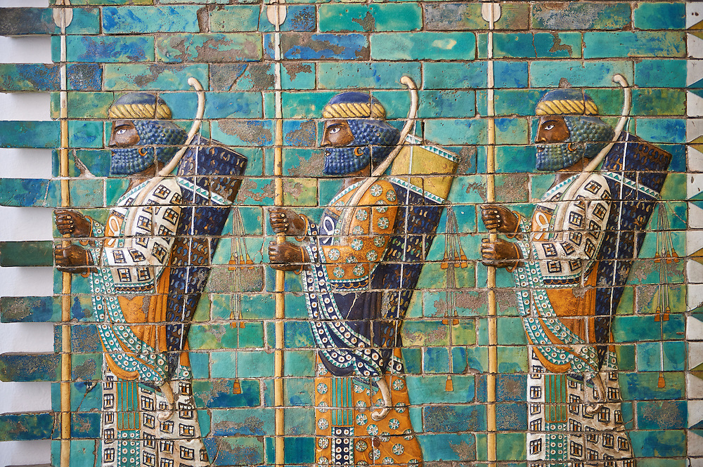 Coloured glazed terracotta brick panels depicting Achaemenid Persian royal bodyguards or archers. From the reign of Darius 1st and the First Persian or Achaemenid Empire around 510 BC excavated from the Palace of Darius 1st. Susa was one of the residential cities of the Achaemenid Kings. The Palaces are noteworthy for their elaborate decorations which can be considered exemplary of art at a royal court. The walls of Darius's palace at Susa were embellished with colourful reliefs made from glazed bricks on the Babylonian model. It is not certain which rooms of the palace was decorated with representations of a procession of royal bodyguards or archers, dressed in richly decorative costumes.  The Vorderasiatisches Museum, part of the Pergamon Museum, Berlin