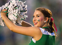 Oct 9, 2015; Huntington, WV, USA; A Marshall Thundering Herd cheerleader performs before the game against the Southern Miss Golden Eagles at Joan C. Edwards Stadium. Mandatory Credit: Ben Queen-USA TODAY Sports