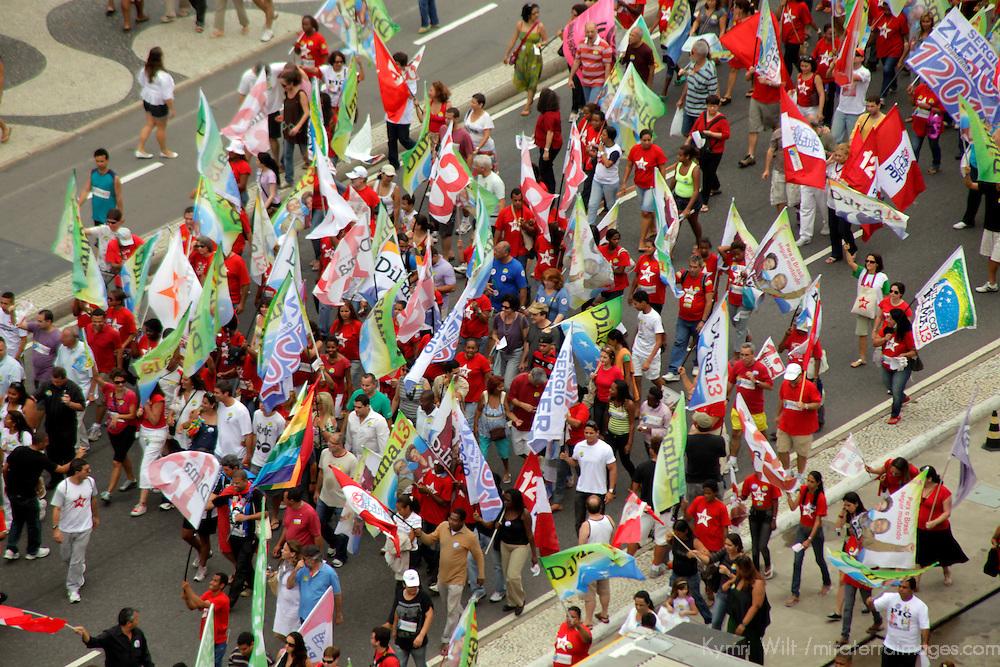 South America, Brazil. Rio de Janiero.  A political march along Copacabana Beach, prior to the runoff elections in October 2010.