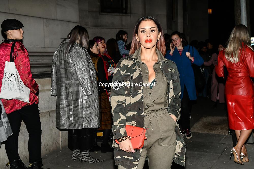 Shanie Ryan attend Fashion Scout LFW AW19 Day 1 at Freemasons' Hall, London, UK. 15 Feb 2019