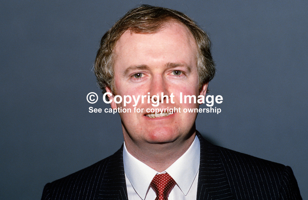 Frank Wall, general secretary, Fianna Fail, Rep of Ireland, 19860405FW.<br /> <br /> Copyright Image from Victor Patterson, Belfast, UK<br /> <br /> t: +44 28 9066 1296 (from Rep of Ireland 048 9066 1296)<br /> m: +44 7802 353836<br /> e: victorpattersonbelfast@gmail.com<br /> <br /> www.images4media.com<br /> <br /> Please see my full Terms and Conditions of Use at https://www.images4media.com/p/terms-conditions - it is IMPORTANT that you familiarise yourself with them.<br /> <br /> Images used online incur an additional cost. This cost should be agreed in writing in advance. Online images must be visibly watermarked i.e. © Victor Patterson or that of the named photographer within the body of the image. The original metadata must not be deleted from images used online.<br /> <br /> This image is only available for the use of the download recipient i.e. television station, newspaper, magazine, book publisher, etc, and must not be passed on to a third party. It is also downloaded on condition that each and every usage is notified within 7 days to victorpattersonbelfast@gmail.com.<br /> <br /> The right of Victor Patterson (or the named photographer) to be identified as the author is asserted in accordance with The Copyright Designs And Patents Act (1988). All moral rights are asserted.