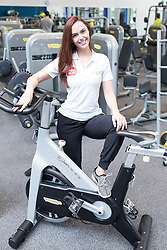 "© Licensed to London News Pictures . 01/03/2016 . Manchester , UK . Hollyoaks actress JENNIFER METCALFE (pictured posing on a bike she's signed for a competition) launches a national fundraiser , "" The Better Bike Challenge "" from the East Manchester Leisure Centre in Beswick . The Challenge features 10,000 people cycling one-mile , each donating £1 to #TeamBetter for Sport Relief . Photo credit : Joel Goodman/LNP"