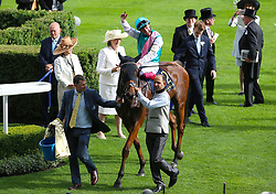 Jockey Frankie Dettori celebrates winning the Wolferton Stakes with Monarchs Glen during day one of Royal Ascot at Ascot Racecourse.
