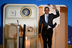 © London News Pictures. 21/04/2016. Stansted, UK. President of the United States BARACK OBAMA arrives at Stansted Airport in Essex, UK, for the start of his UK visit.. President Obama will meet the Queen for lunch at Windsor Castle, and also holds talks with Prime Minister David Cameron. Photo credit: Ben Cawthra/LNP
