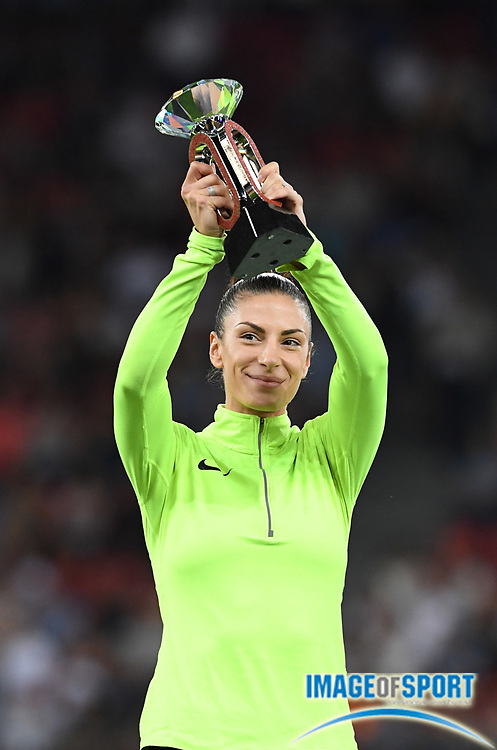 Sep 1, 2015; Zurich, SWITZERLAND; Ivana Spanovic (SRB) poses with the IAAF Diamond League women's long jump champion trophy at the 2016 Weltklasse Zurich during an IAAF Diamond League meeting at Letzigrund Stadium. Photo by Jiro Mochizuki