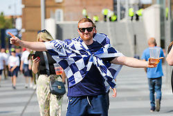 © Licensed to London News Pictures. 01/06/2019. London, UK. Tottenham Hotspur fans arriving at the club's Whitehart Lane stadium in Tottenham, north London to watch live screenings of the Champions League Final between Tottenham and Liverpool this evening in Madrid. Photo credit: Dinendra Haria/LNP