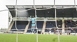 Falkirk's keeper Michael McGovern after Mark Beck scored their first goal.<br /> Falkirk 3 v 1 Alloa Athletic, Scottish Championship game played today at The Falkirk Stadium.<br /> © Michael Schofield.
