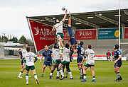 London Irish Back row Matt Rogerson wins a line-out during a Gallagher Premiership Round 14 Rugby Union match, Sunday, Mar 21, 2021, in Eccles, United Kingdom. (Steve Flynn/Image of Sport)